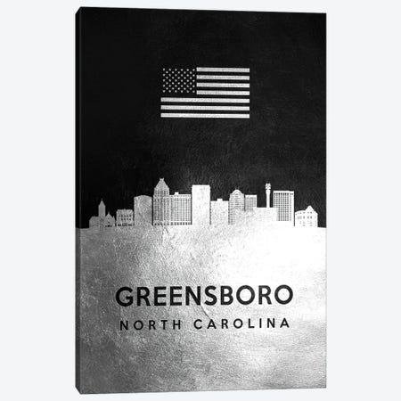 Greensboro North Carolina Silver Skyline Canvas Print #ABV811} by Adrian Baldovino Canvas Artwork