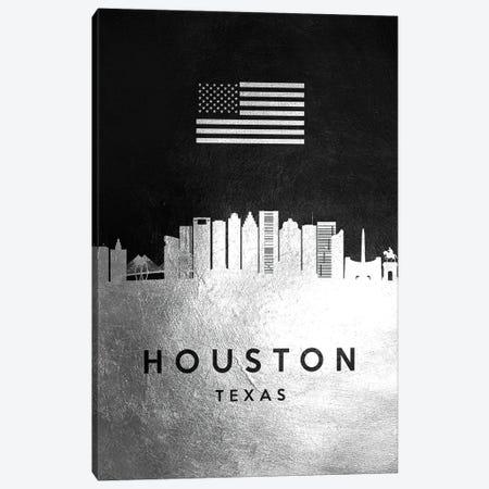 Houston Texas Silver Skyline Canvas Print #ABV814} by Adrian Baldovino Canvas Art Print