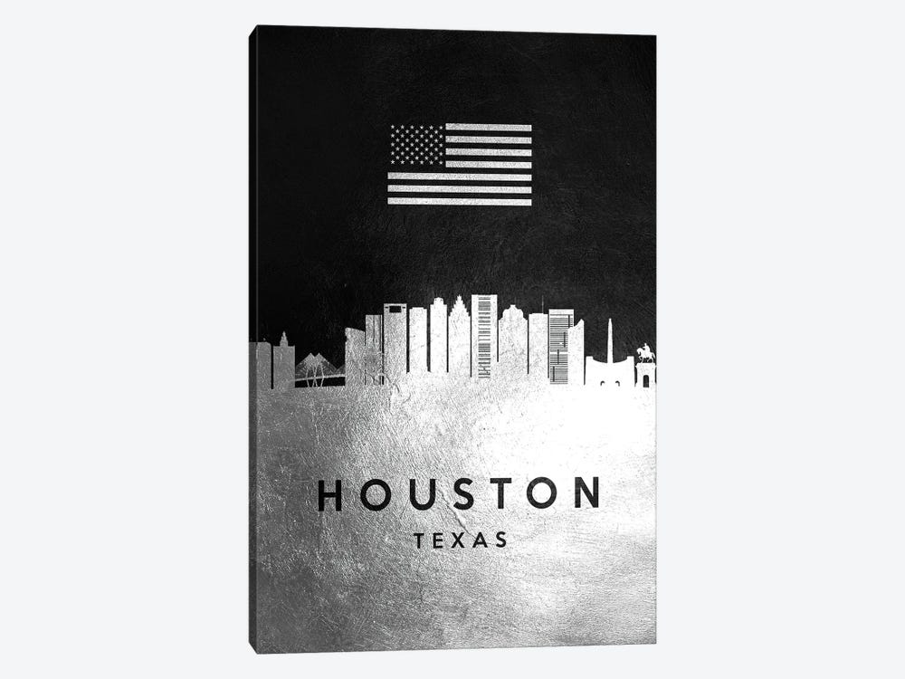 Houston Texas Silver Skyline by Adrian Baldovino 1-piece Canvas Art