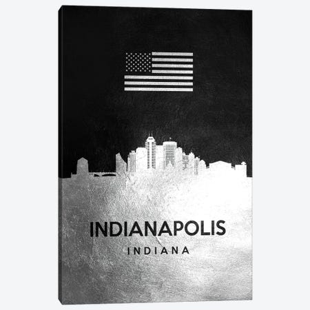 Indianapolis Indiana Silver Skyline Canvas Print #ABV815} by Adrian Baldovino Canvas Art Print