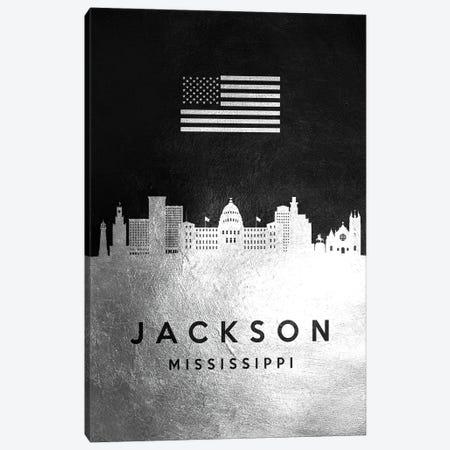 Jackson Mississippi Silver Skyline Canvas Print #ABV816} by Adrian Baldovino Canvas Art Print
