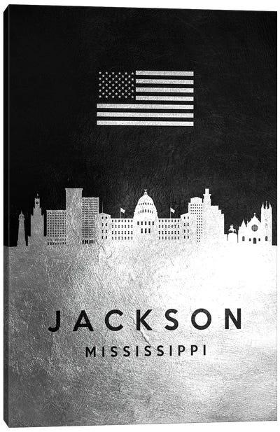Jackson Mississippi Silver Skyline Canvas Art Print