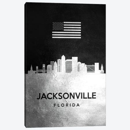 Jacksonville Florida Silver Skyline Canvas Print #ABV817} by Adrian Baldovino Art Print
