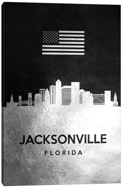Jacksonville Florida Silver Skyline Canvas Art Print