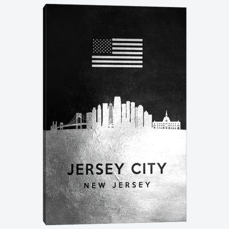 Jersey City New Jersey Silver Skyline Canvas Print #ABV818} by Adrian Baldovino Canvas Wall Art