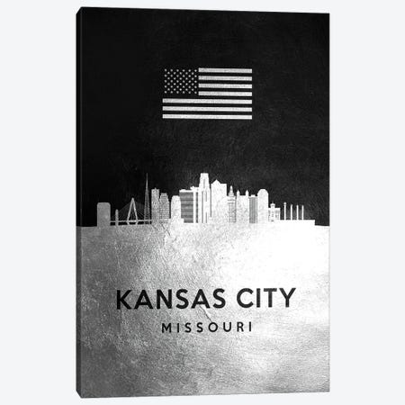 Kansas City Missouri Silver Skyline Canvas Print #ABV819} by Adrian Baldovino Canvas Artwork