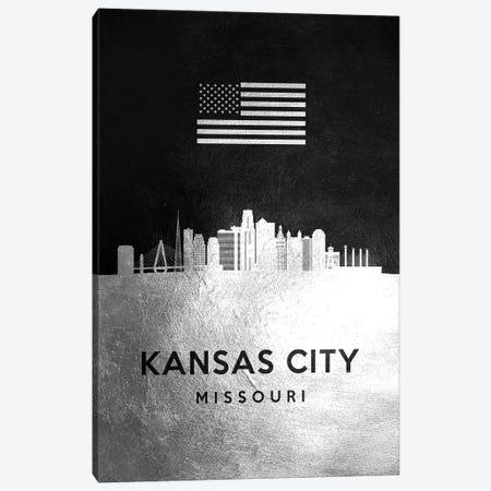 Kansas City Missouri Silver Skyline Canvas Print #ABV819} by Adrian Baldovino Canvas Artwork