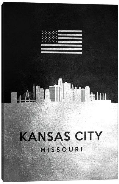 Kansas City Missouri Silver Skyline Canvas Art Print