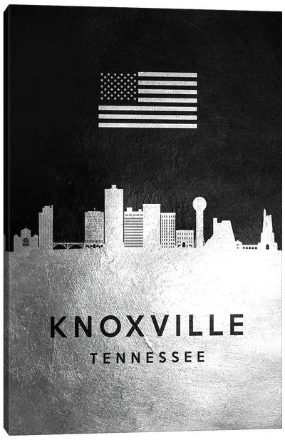 Knoxville Tennessee Silver Skyline Canvas Art Print