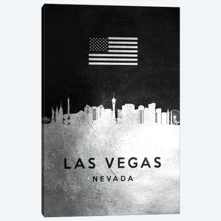 Las Vegas Nevada Silver Skyline Canvas Print #ABV821} by Adrian Baldovino Canvas Print