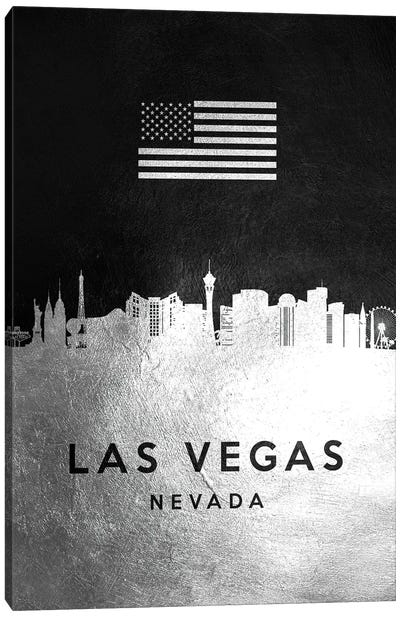 Las Vegas Nevada Silver Skyline Canvas Art Print