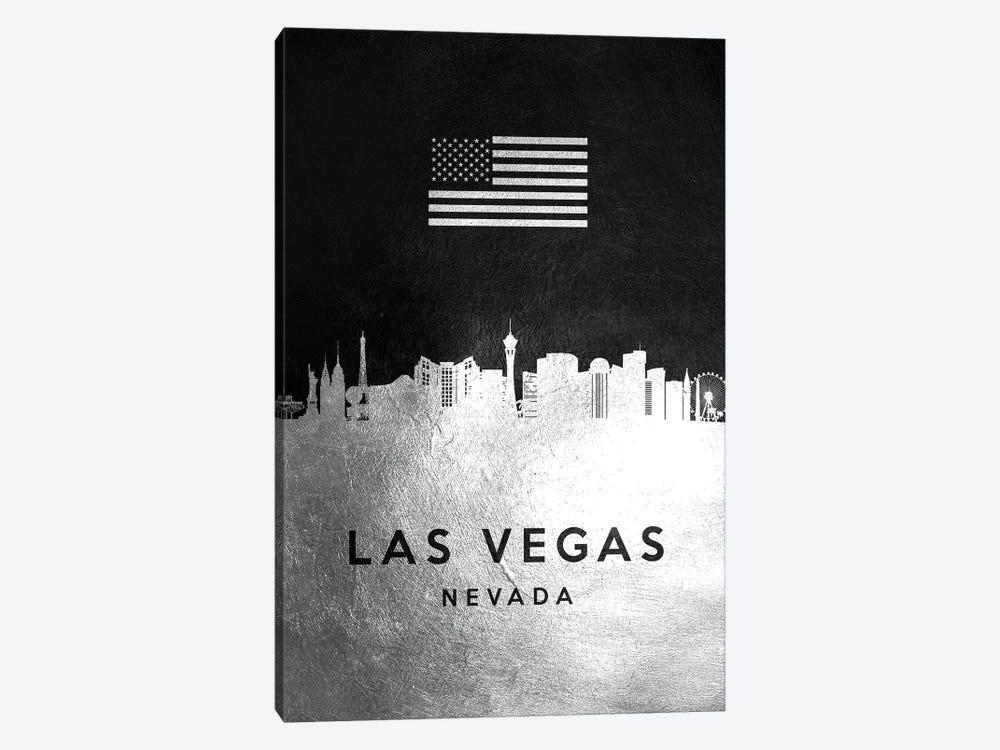 Las Vegas Nevada Silver Skyline by Adrian Baldovino 1-piece Canvas Wall Art