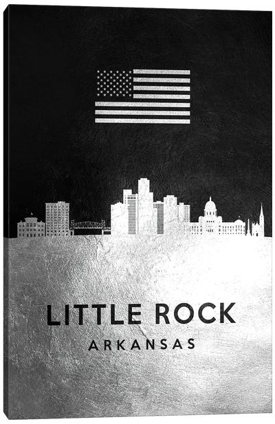 Little Rock Arkansas Silver Skyline Canvas Art Print