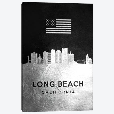 Long Beach California Silver Skyline Canvas Print #ABV824} by Adrian Baldovino Canvas Artwork