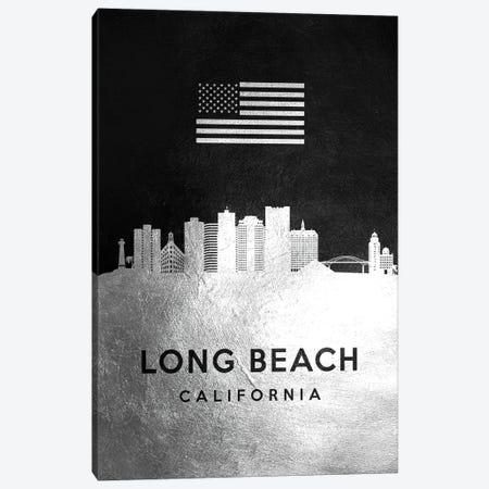 Long Beach California Silver Skyline Canvas Print #ABV824} by Adrian Baldovino Canvas Artwork