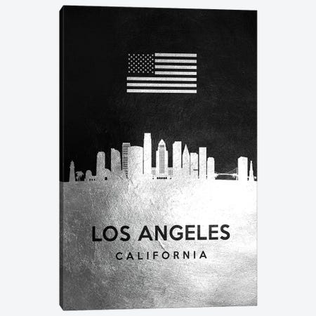 Los Angeles California Silver Skyline Canvas Print #ABV825} by Adrian Baldovino Canvas Art