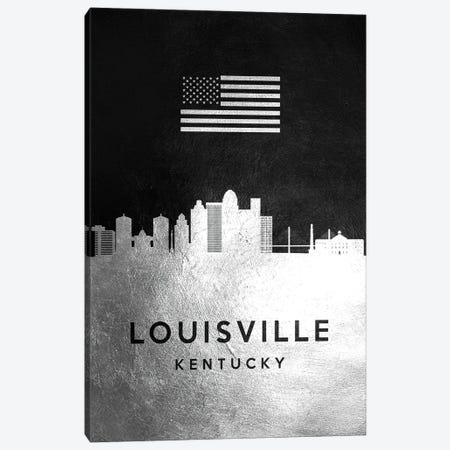 Louisville Kentucky Silver Skyline Canvas Print #ABV826} by Adrian Baldovino Canvas Wall Art
