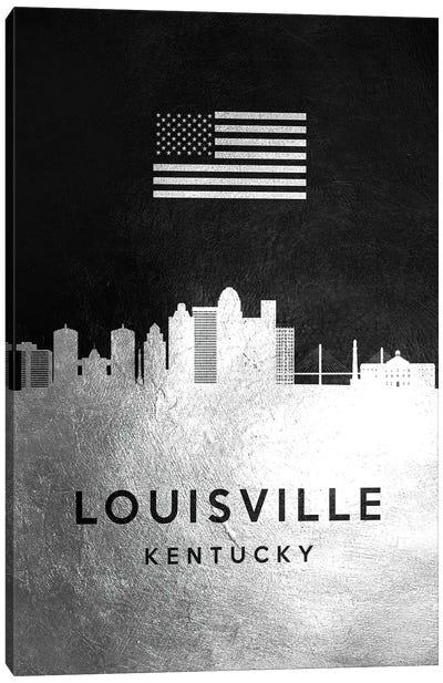 Louisville Kentucky Silver Skyline Canvas Art Print