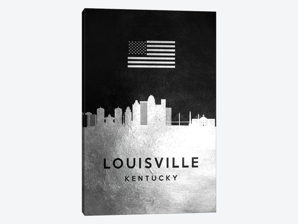 Louisville Kentucky Silver Skyline by Adrian Baldovino 1-piece Art Print