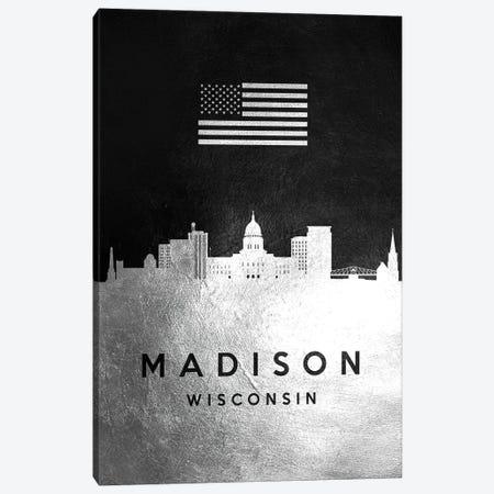 Madison Wisconsin Silver Skyline Canvas Print #ABV828} by Adrian Baldovino Canvas Print