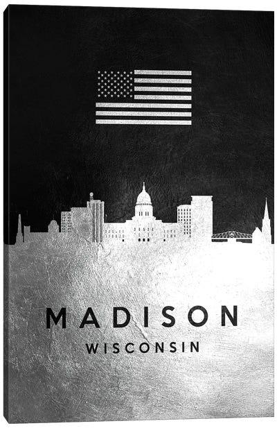 Madison Wisconsin Silver Skyline Canvas Art Print