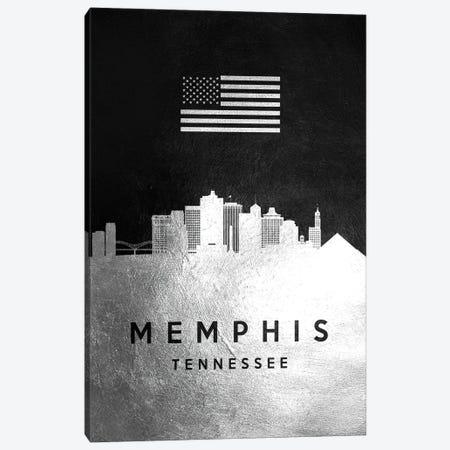 Memphis Tennessee Silver Skyline II Canvas Print #ABV830} by Adrian Baldovino Canvas Art