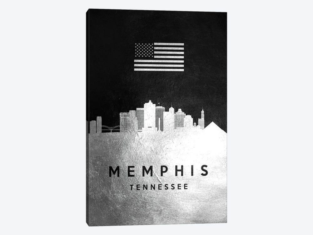 Memphis Tennessee Silver Skyline II by Adrian Baldovino 1-piece Canvas Wall Art