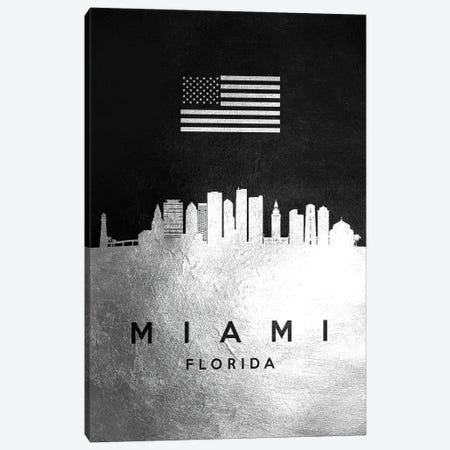 Miami Florida Silver Skyline Canvas Print #ABV831} by Adrian Baldovino Canvas Artwork