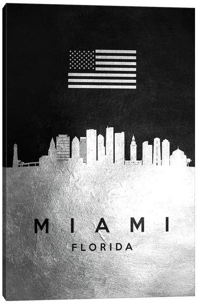 Miami Florida Silver Skyline Canvas Art Print