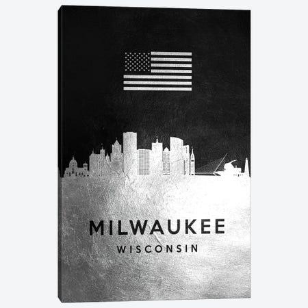 Milwaukee Wisconsin Silver Skyline Canvas Print #ABV832} by Adrian Baldovino Canvas Art