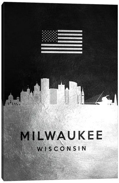 Milwaukee Wisconsin Silver Skyline Canvas Art Print