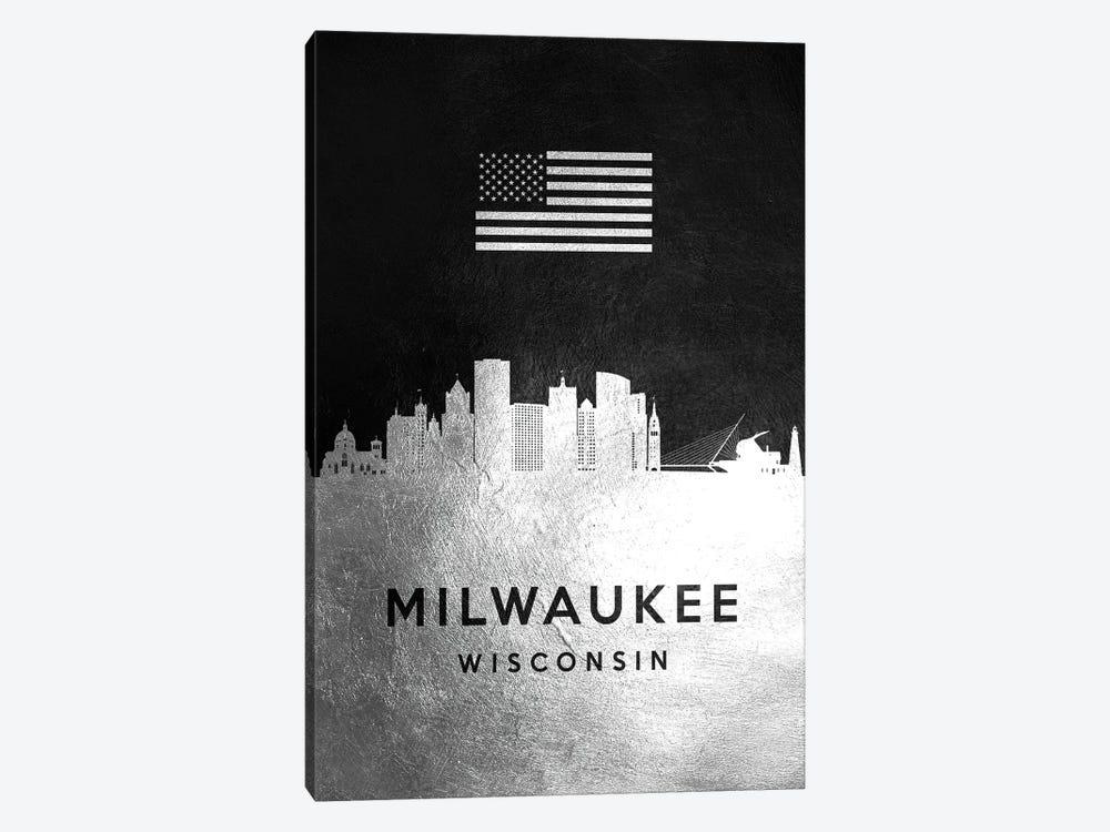 Milwaukee Wisconsin Silver Skyline by Adrian Baldovino 1-piece Canvas Artwork