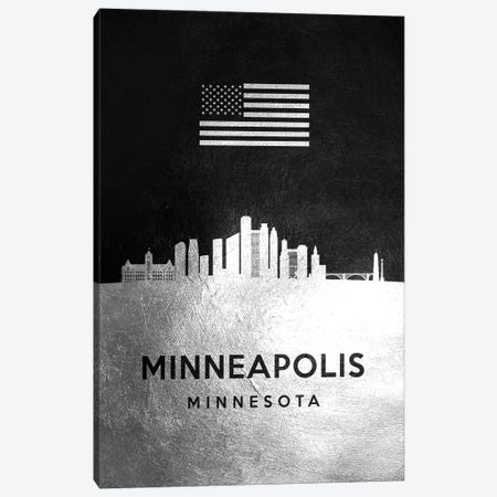Minneapolis Minnesota Silver Skyline Canvas Print #ABV834} by Adrian Baldovino Canvas Art Print