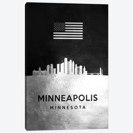 Minneapolis Minnesota Silver Skyline Canvas Print #ABV834} by Adrian Baldovino Canvas Art Print