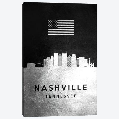 Nashville Tennessee Silver Skyline Canvas Print #ABV836} by Adrian Baldovino Art Print