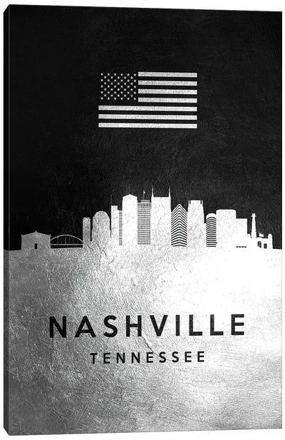 Nashville Tennessee Silver Skyline Canvas Art Print