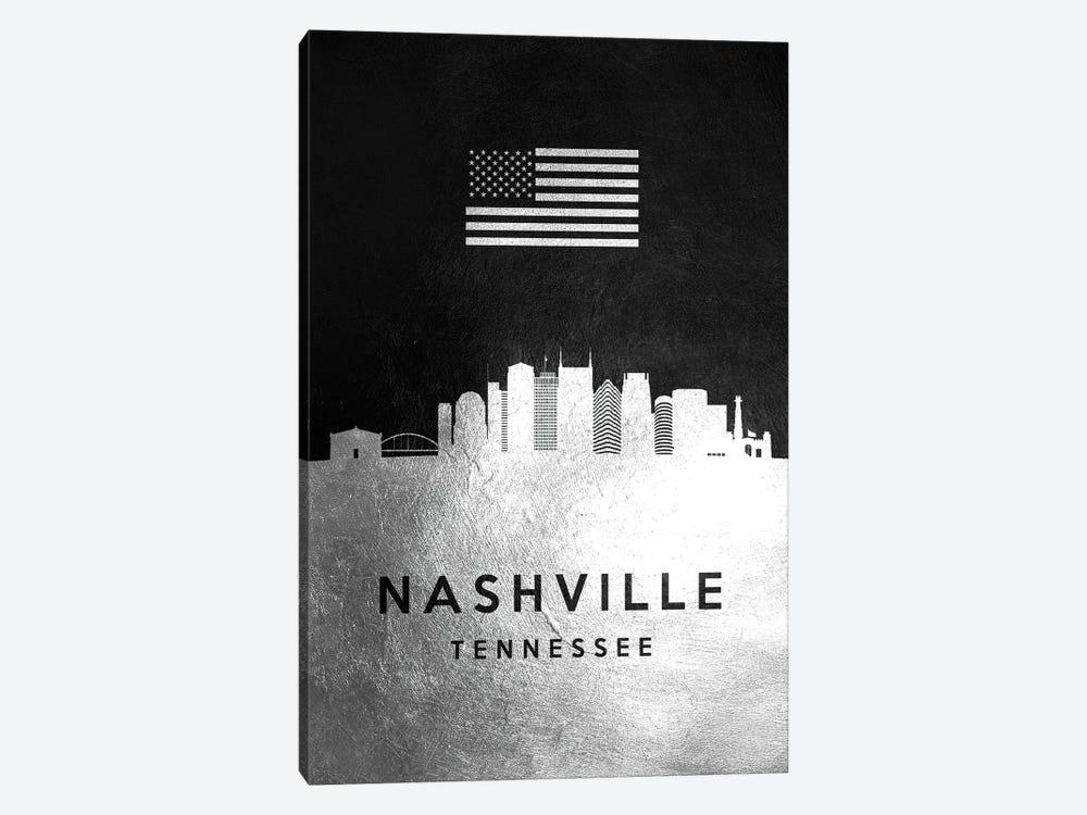 Nashville Tennessee Silver Skyline by Adrian Baldovino 1-piece Canvas Art