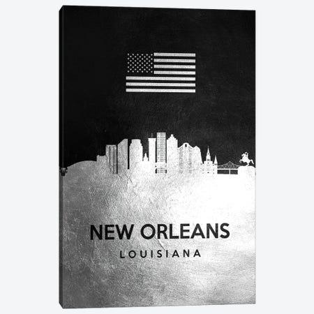 New Orleans Louisiana Silver Skyline Canvas Print #ABV838} by Adrian Baldovino Canvas Art