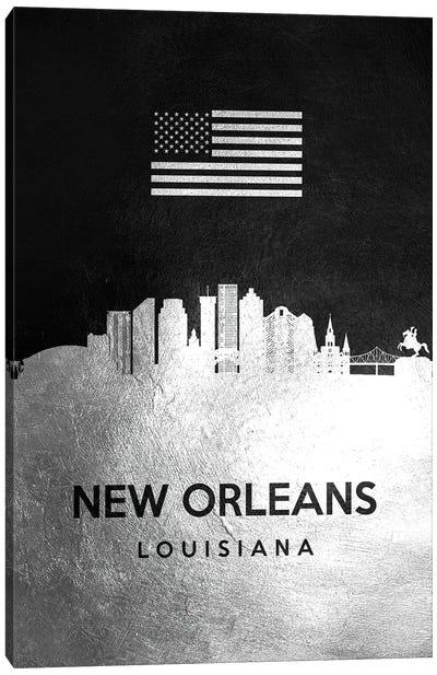 New Orleans Louisiana Silver Skyline Canvas Art Print