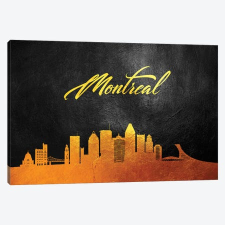 Montreal Canada Gold Skyline Canvas Print #ABV83} by Adrian Baldovino Canvas Artwork