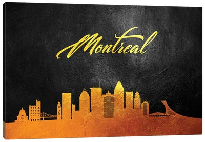 Montreal Canada Gold Skyline Canvas Art Print