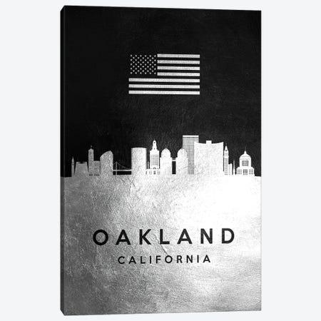 Oakland California Silver Skyline Canvas Print #ABV841} by Adrian Baldovino Canvas Print