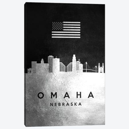 Omaha Nebraska Silver Skyline Canvas Print #ABV843} by Adrian Baldovino Canvas Print