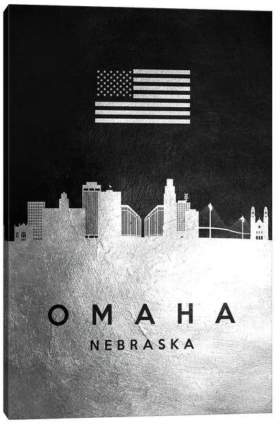 Omaha Nebraska Silver Skyline Canvas Art Print