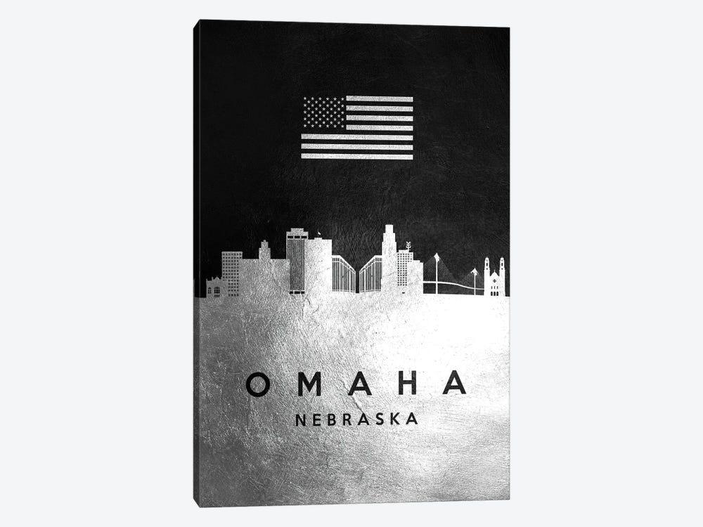 Omaha Nebraska Silver Skyline by Adrian Baldovino 1-piece Canvas Artwork