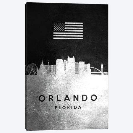 Orlando Florida Silver Skyline Canvas Print #ABV844} by Adrian Baldovino Canvas Wall Art