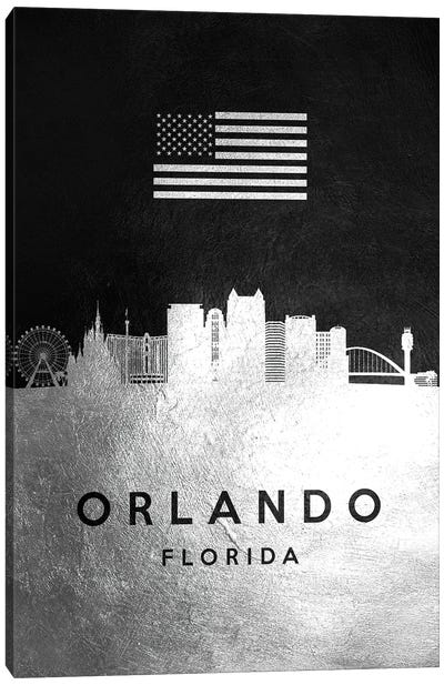 Orlando Florida Silver Skyline Canvas Art Print