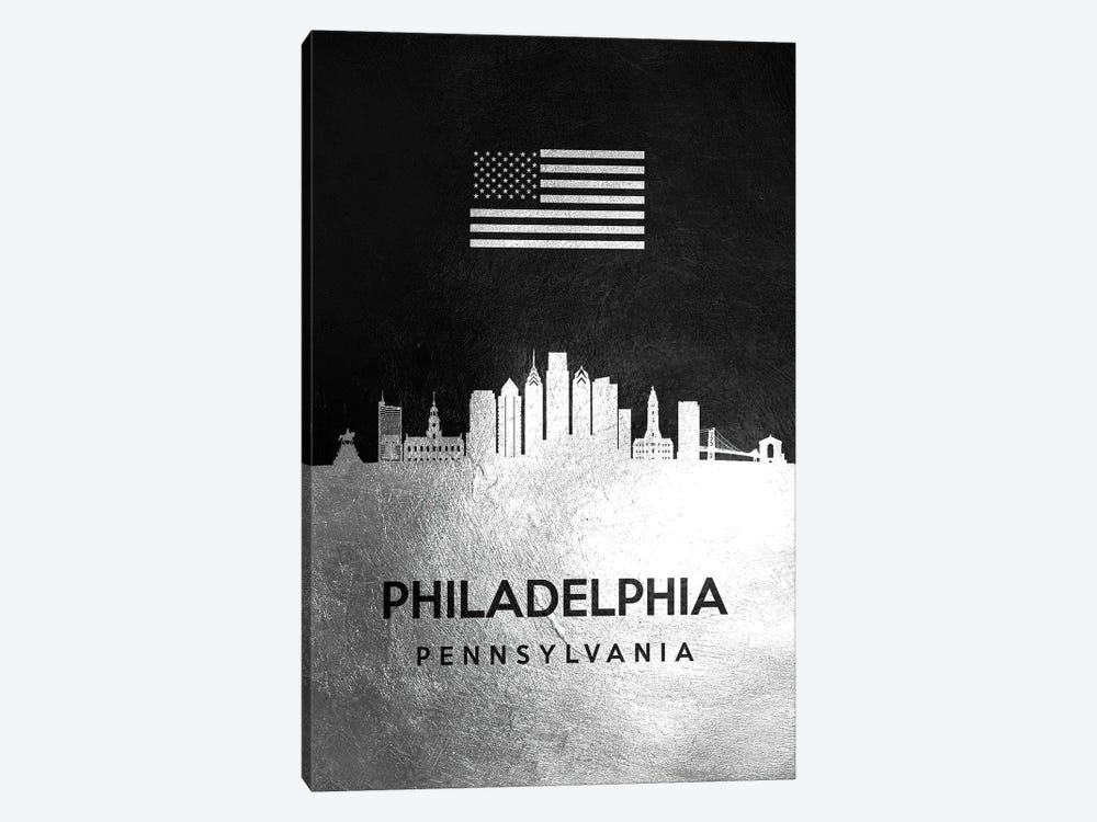 Philadelphia Pennsylvania Silver Skyline by Adrian Baldovino 1-piece Canvas Artwork