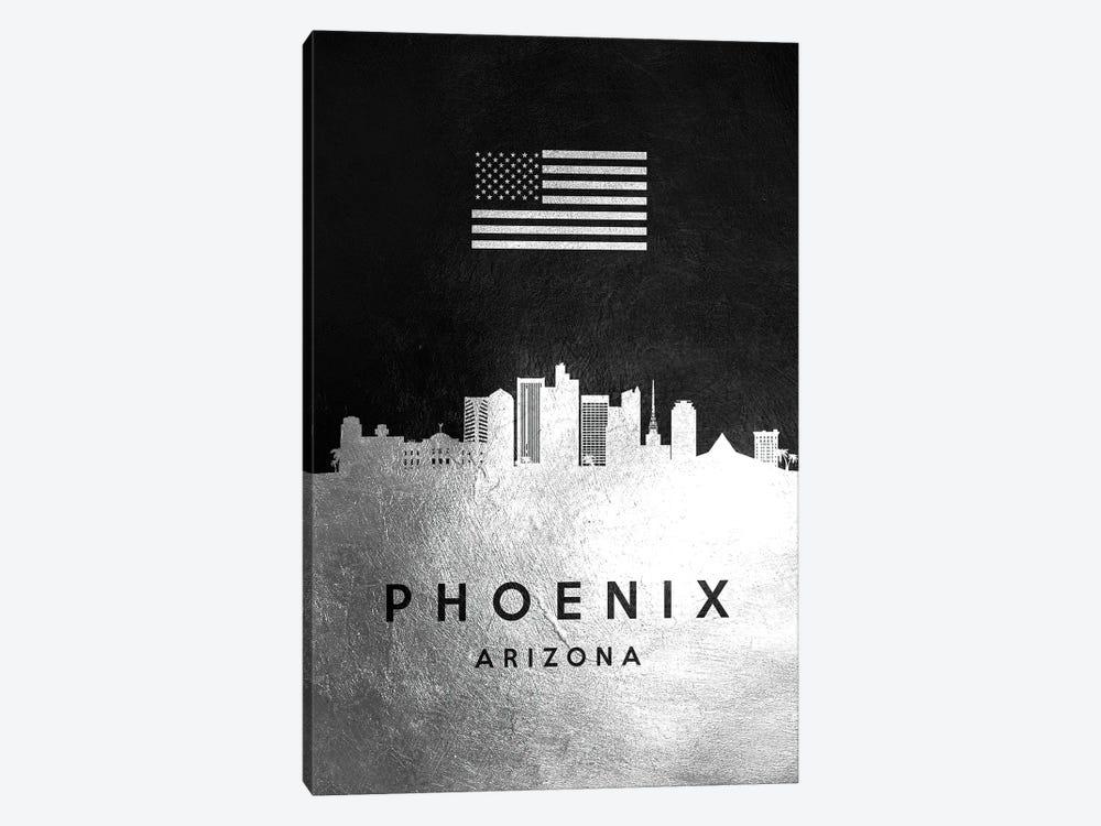 Phoenix Arizona Silver Skyline by Adrian Baldovino 1-piece Canvas Art Print