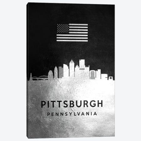 Pittsburgh Pennsylvania Silver Skyline Canvas Print #ABV849} by Adrian Baldovino Canvas Art Print